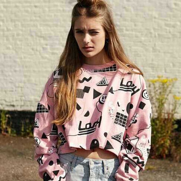 Windkiss Harajuku women brand Lazy oaf pink graffiti geometric cube smiley short section letters Pullover Sweatshirt women