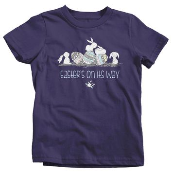 Kids Easter Shirt Easter Bunny T-Shirts Hipster Cute Bunnies Easter's On Its Way TShirt Easter Tee Shirt Toddler Baby