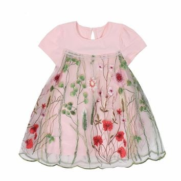 2017 Summer Baby Girl Lace Dress Embroidered Dress New Brand Design Girl Floral Princess Dresses Birthday Party Child Clothing