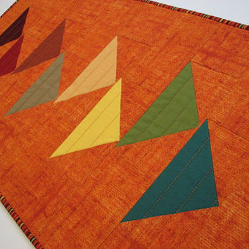 Quilted Table Runner , Modern Autumn Tones on Pumpkin Table Topper , Flying Geese Quilted Table Mat , Quiltsy Handmade