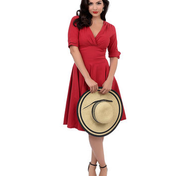 Iconic by UV 1950s Style Red Half Sleeve Delores Swing Dress