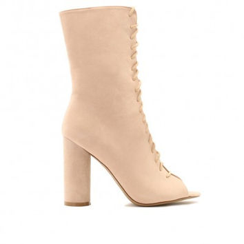 JEMMA LACE UP ANKLE BOOTS IN NUDE FAUX SUEDE