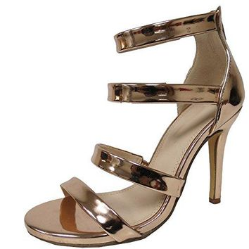 Cambridge Select Womens Open Toe Strappy Back Zip Stiletto High Heel Sandal
