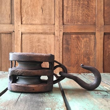 Vintage Barn Pulley, Wood Pulley Wheel, Antique Pulley, Block And Tackle