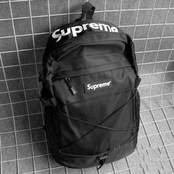 DCCKJ1A Supreme Stylish Women Men Outdoor Sport Laptop Bag Double Shoulder School Bag Backpack Black