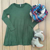 Olive Fall Shift Dress