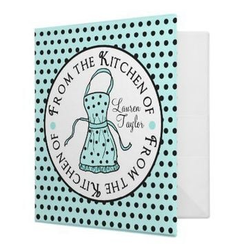 Cooking Apron Polka Dot Recipe Binder from Zazzle.com