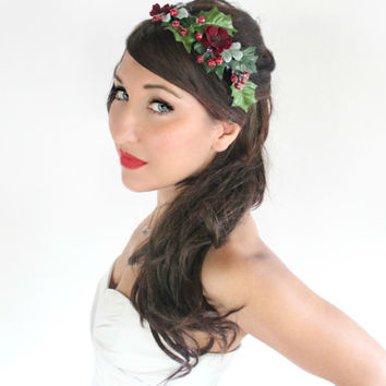 Holiday Red & Green Headband, Holly berry, Rustic, Crown, Christmas, Winter Headpiece, Wedding