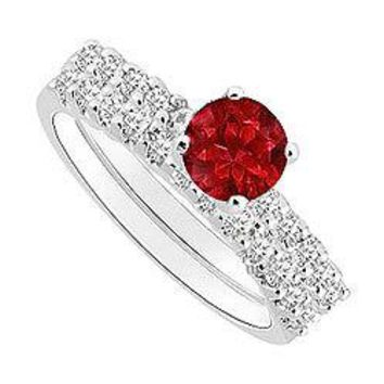 Ruby and Diamond Engagement Ring with Wedding Band Set : 14K White Gold - 0.75 CT TGW