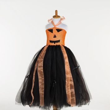 Cute Black and Orange Carnival Party Tutu Dresses for Toddler Children Dress Up Costumes for Kids Girl Halloween Pumpkin Dress