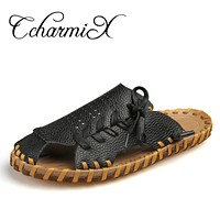 Men High Quality Split Leather Casual Shoes Handmade Comfortable Classic Summer Beach Slippers