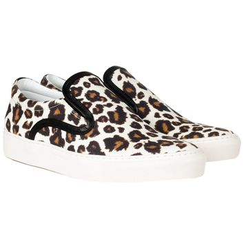Achilles Leopard Print Canvas Slip-On Sneakers 41