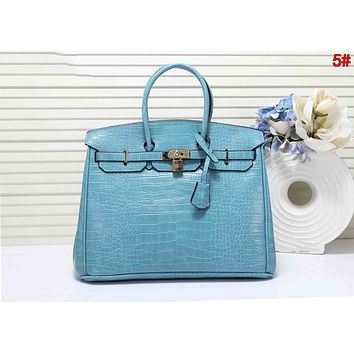 Hermes Fashion Women Shopping Leather Handbag Shoulder Bag Satchel 5# Blue