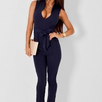 Melody Navy Sleeveless Jumpsuit with Belt | Pink Boutique