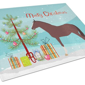 English Thoroughbred Horse Christmas Glass Cutting Board Large BB9280LCB