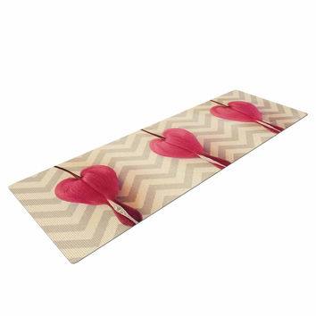 "Robin Dickinson ""Pink Heart With Chevrons"" Floral Yoga Mat"