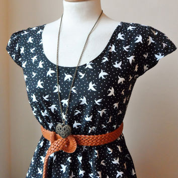 Tea Dress in Black and White with Kitsch Cute Birds / Handmade / Choose your size