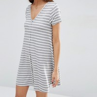 ASOS Short Sleeve Swing Dress in Stripe Print with Button Through