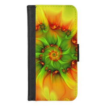 Hot Summer Green Orange Abstract Colorful Fractal iPhone 8/7 Wallet Case