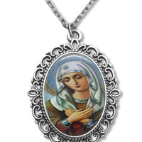 Virgin Mary Catholic Necklace   Religious  Glass Tile Pendant Necklace Blessed Mother  Christian Gift 18 x 25mm