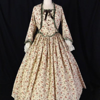 Civil War Beige Floral Tea Bodice Day Gown