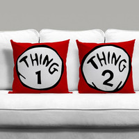 Thing One And Thing Two Couples Square Pillow Covers Pillow Case Gift Couples Case