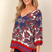 Design Your Imagery Print Top Red