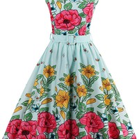Atomic 1950's Floral Rockabilly Cocktail Dress