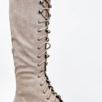 Breckelle's OUTLAW-13 Knee High Stacked Heel Military Combat Boot,Outlaw-13 Ice 6