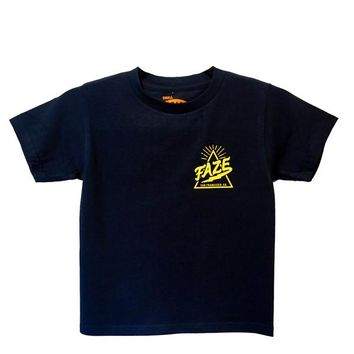 FAZE Logo Kids Tee in navy and yellow