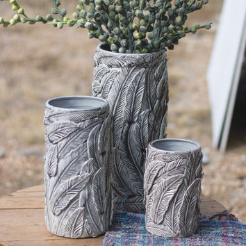 Ceramic Feather Vase- Grey- Small