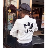 Adidas female Leather clothing Embroidery Loose Coat White