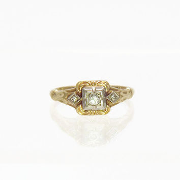 SALE Antique Engagement Ring Victorian Diamond Ring Antique Diamond Ring in 14k Gold Size 5.5
