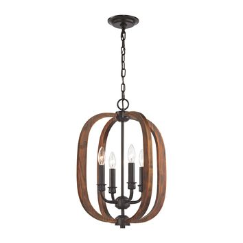 32140/4 Wood Arches 4 Light Chandelier In Oil Rubbed Bronze - Free Shipping!