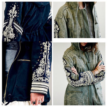 Phnom Penh embroidery brand new line of rivets hove lock ethnic style casual frock coat female retro do the Vintage