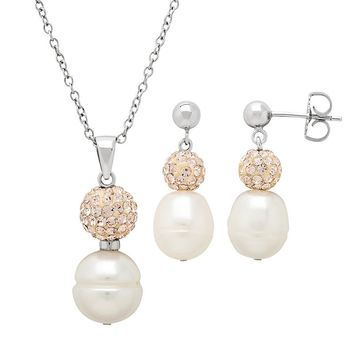 Freshwater by Honora Freshwater Cultured Pearl & Crystal Sterling Silver Pendant Necklace & Drop Earring Set (Pink)