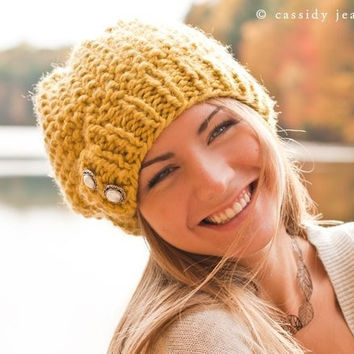Sale 15 Off  Hand Knit Hat  The Seed Beret Hat in by pixiebell
