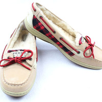 NWOB Sperry Top-Siders Red And Black Plaid Accents - Woman's 9.5M