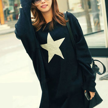 Black Pentagram Printed Bat Sleeve Loose Midi Length T-Shirt