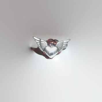 Unique Hematite Band Ring with Wire Wrapped Heart and Angel Wings Size 5 Remembrance Love Faith
