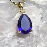 Royal Blue Sapphire Solitaire Tear-Drop Pendant - Vintage