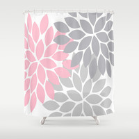 Bold Colorful Pink Grey Dahlia Flower Burst Petals Shower Curtain by TRM Design