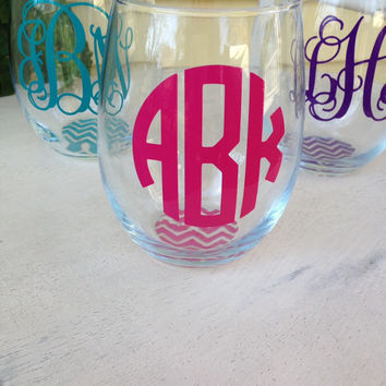Stemless wine glass, personalized, monogrammed wine glass, custom wine glass, housewarming gift, birthday gift, wine glasses, big little