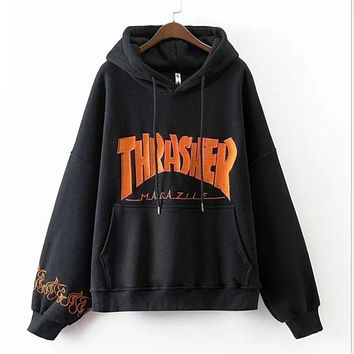 """Thrasher"" Fashion Trending women man letters Hooded pullover loose long sleeve top sweater coat couple sweater black I"