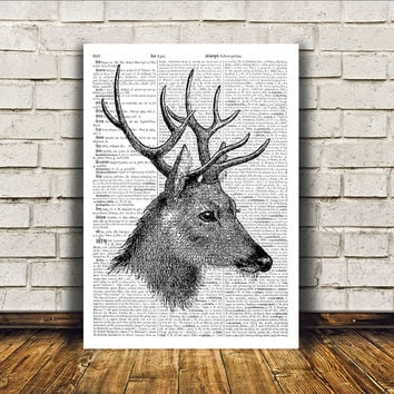 Wall decor Animal art Deer poster Dictionary print RTA218