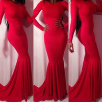 Red Backless Long Sleeve Fish Tail Maxi Dress