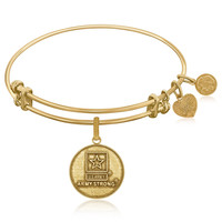 Expandable Bangle in Yellow Tone Brass with U.S. Army Strong Symbol