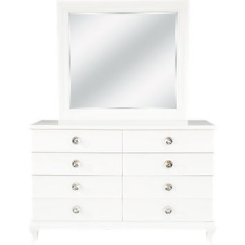 Milan White Dresser & Mirror Set
