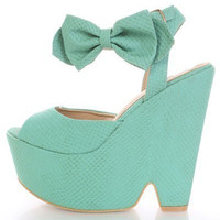 SIZE 8 LAST ONE Winni Bow Mint Platform Wedge Sandals