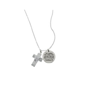 Bible Scripture Necklace With Natural Howlite Cross Gemstone By Pink Box